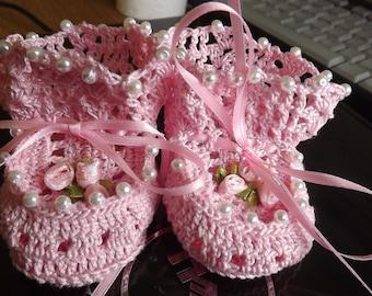 Baby Booties, handmade 100% cotton. elegant and beautiful!!