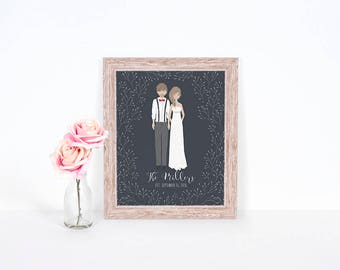 Custom portrait. Printable Wedding Portrait featuring a custom illustration of the Bride & Groom. Makes a perfect wedding gift!