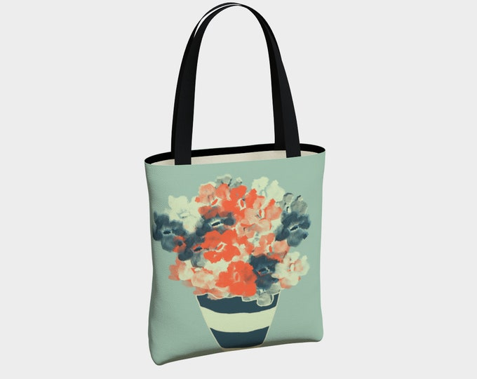 Flower Bouquet Tote Bag, Canvas Tote Bag, Floral Shoulder Bag, Everyday Tote Bag, Tote with Pockets, Urban Tote Bag, Basic Tote Bag