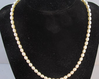 Necklace Genuine pearls Smooth Rice 6-7mm White size-17  inch Gold filled spring ring clasp