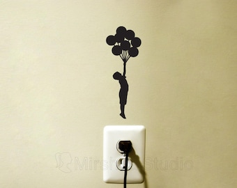 Boy With Balloons Light Switch Wall Decal - Boys Room Decor - Child Silhouette Wall Sticker - Fabric Laptop Sticker - Mac Decal Sticker