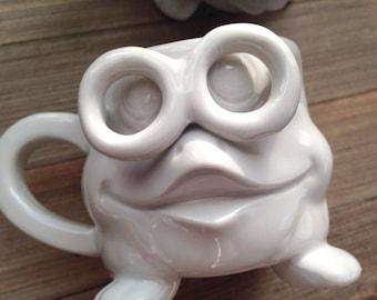 Two Funny Face Mugs with Glasses, Two Face Mugs, Two Mugs, Face Mugs, Mugs