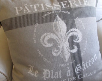 PATISSERIE Fleur De Lis mostly gray designer  Pillow Cover 20x20 22x22 24x24 26x26