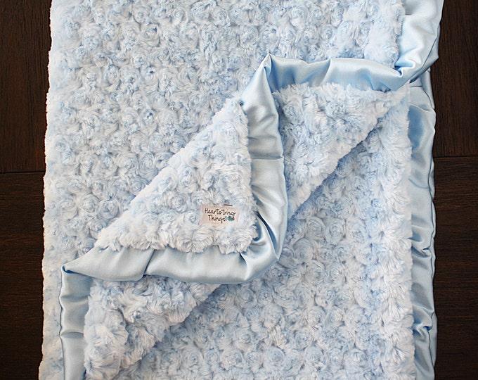 Minky Blanket, white blanket, blue blanket, baby boy, minky blanket with ruffle, satin and minky, baptism blanket, blessing blanket