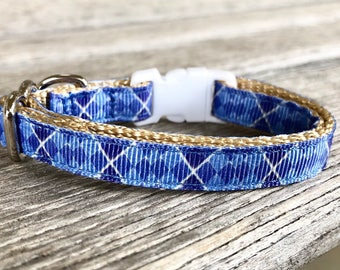 Blue Argyle Cat Collar, Kitten Collar Boy, Breakaway Cat Collar, Male Cat Collar, Blue Kitten Collar