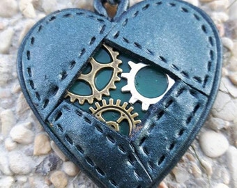 2 polymer clay steampunk Heart Necklace.