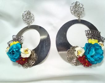 Flamenco earrings, hoop earrings, flower earrings, fair earrings, party earrings, guest earrings, Mother's Day