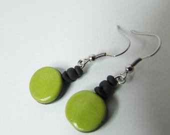 Ceramic earrings raku green and black.