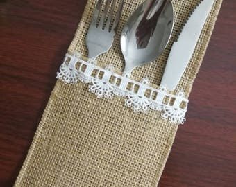 Set of 10-Wedding Rustic Menu,Table Setting,Wedding Table Set,Burlap Silverware Holder,,Burlap table decoration,Rustic table decor, - (PY)09
