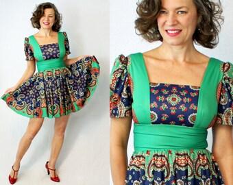 """1960s Dress / 60s Dress / Mini Dress / Paisley Dress / Full Skirt Dress / Blue Green Dress / Dance Dress / Short Dress / Waist up to 26"""""""