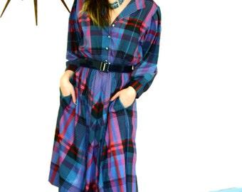 Plaid Western Dress, 90s vintage dress, Blue Red Black dress, Cotton Shirt dress, Long Sleeve dress,Full Sweep Skirt,Southwest Cowgirl dress