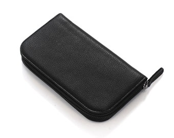 Metallic Black Zipper XL Wallet
