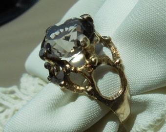 14k vintage smoky quartz ring