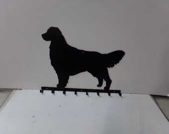 Golden Retriever 003 Silhouette 8 Hooks Key/Leash Holder Metal Wall Yard Art