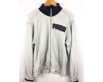 PUMA Long Sleeve Sweater With Big Spell Out Logo Medium Size Fully Zipper