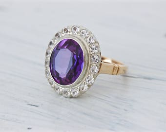 Antique Engagement Ring | Edwardian Ring | Diamond Halo Ring | Synthetic Alexandrite Ring | 14k Yellow Gold Ring | Art Deco Ring | Size 6