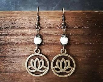Lotus flower earrings, lotus earrings, lotus jewelry, gift idea under 10, yoga meditation, bronze color, mother's day