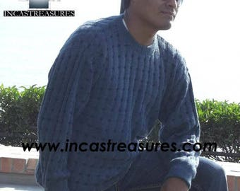 100% Baby alpaca wool sweater for men dolphin