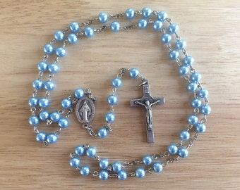 Handmade Catholic Rosary: Miraculous Medal with Blue Glass Pearl Beads