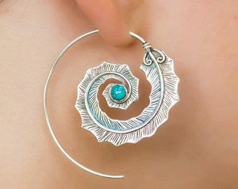 Sterling Silver spiral earrings. boho earrings. boho jewelry. large earrings. handmade earrings. feather earrings. turquoise earrings.