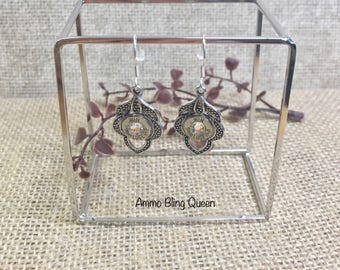 Bullet 9 mm Silver Winchester Leave Earrings With Swarovski Crystals