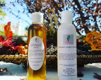 KIT:Formula D Hair Growth Serum & Shampoo For Faster Hair Growth Great For The Big Chops Proven Natural Hair Care Black Castor Oil Herbs