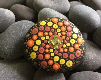 Hand Painted Rock -- Sunfire Design