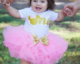 Minnie Mouse inspired birthday outfit, pink and gold Minnie Mouse outfit, first birthday baby girl tutu