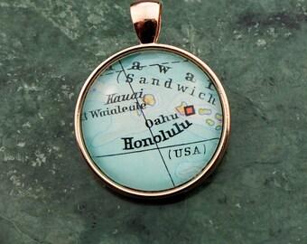 ANHÄNGER Kettananhäger/Schlüsselanhänger HAWAII, HONOLULU, Atlas, Kette, Medaillon, Vintage, Cabochon, Glass, 25mm Durchmesser