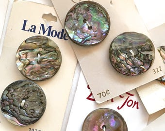 Special Listing 6 buttons- Vintage NOS Abalone Buttons From Japan Original Cardstock Organic Shell Buttons
