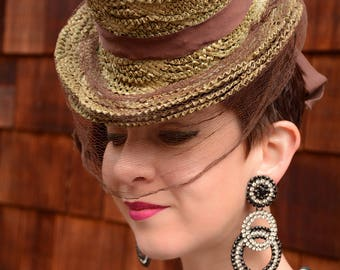 1940s Yellow Straw Tilt Topper Doll Hat with Brown Veiling by Lecie