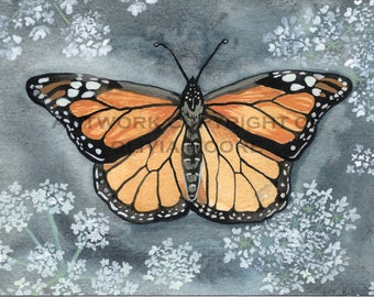 "Monarch Butterfly Art - Original Watercolor Painting - Butterfly Art - Butterfly Nursery Art - 5"" x 7"""