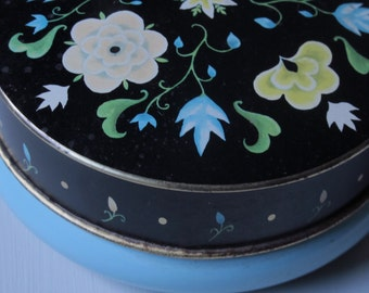 Vintage Deco Candy Tin Black & Blue 40s English Tin Sewing Storage Small Round Metal Tin As Seen on The Great Interior Design Challenge