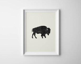 Buffalo Art Print | Bison Print | Buffalo Wall Art | Black White Buffalo | Constellation Print