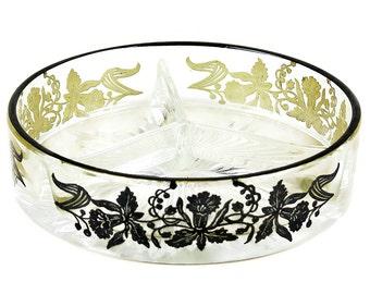 Vintage Glass Relish Dish, Sterling Rim, Black Daffodil Pattern