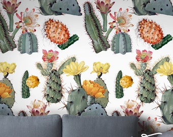Seamless SelfAdhesive Watercolor Cactus Wallpaper - Removable Vintage Wall Decal - Watercolor Cactus Wall Sticker - Temporary Wallpaper