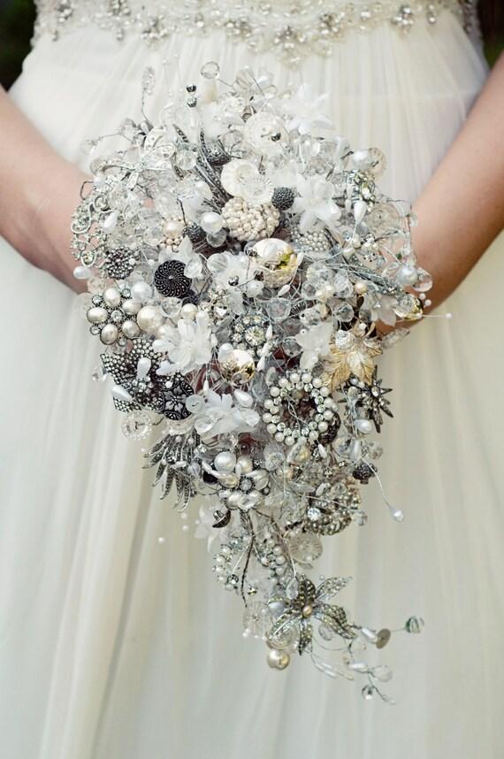 Brooch bouquet vintage crystal button and brooch teardrop