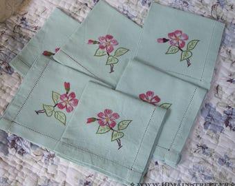 6 adorable vintage green linen tea towels hand embroidered