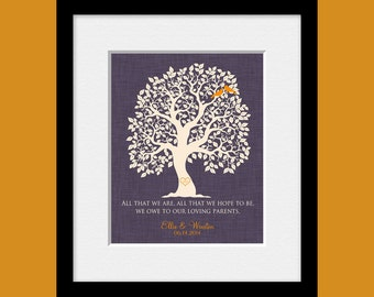Parent's Anniversary Gift, Large Wedding Tree with Initials, Parent's THANK YOU Gift, Appreciation Gifts, Custom Made Parent's Gift