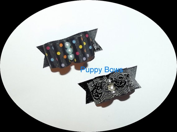 Puppy Bows ~BLACK PARTY FANCY  show dog bow  pet bands, hair clip or  barrette   (fb29)