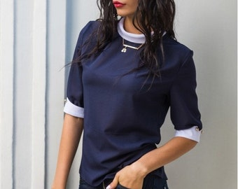 Blouse dark blue Short-sleeved blouse office Navy blue Stand collar Business women Chiffon blouse Contrast blouse Crepe  chiffon blouse