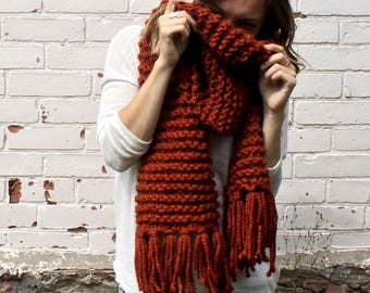Chunky Knit Fringe Scarf | Open Ended Tassel Winter Scarf