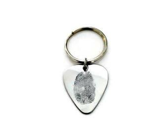 Custom fingerprint guitar pick, etched fingerprint, Memorial Jewelry, Sympathy Gift