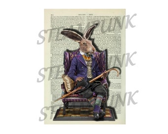 illustration rabbit Alice in Wonderland STEAMPUNK - print - art print - painting - wall decor - printable instant download