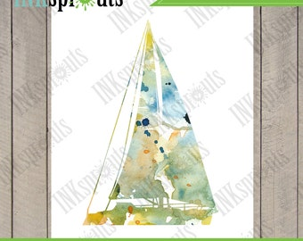 INSTANT DOWNLOAD - Watercolor Sailboat Print, Watercolor silhouettes, Boat, Beach theme, Nursery Print, Under the Sea, Item  WC009B