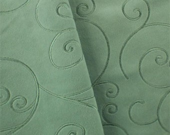 Teal Swirl Embroidered Velveteen Decorating Fabric, Fabric By The Yard