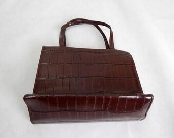 Original Vintage 1960s Brown Mock Animal Skin Hand Bag