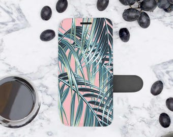 Palm Leaves iPhone X Wallet Case Magnetic iPhone 8 leather Wallet Case iPhone 7 Flip Case iPhone Wallet Case 6s Wallet iPhone 8 Cover 9087