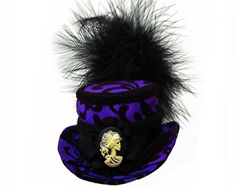 Gothic Victorian Mini Top Hat Fascinator - Gothic Skull Cameo - Purple and Black - Iridescent - Edwardian