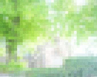 Green Print - Irish Church Abstract Photograph - 8x10